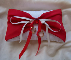 Cute and unique, white and red bow, wedding ring bearer pillow