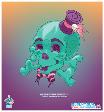 Kawaii Halloween Teal Skull Vector