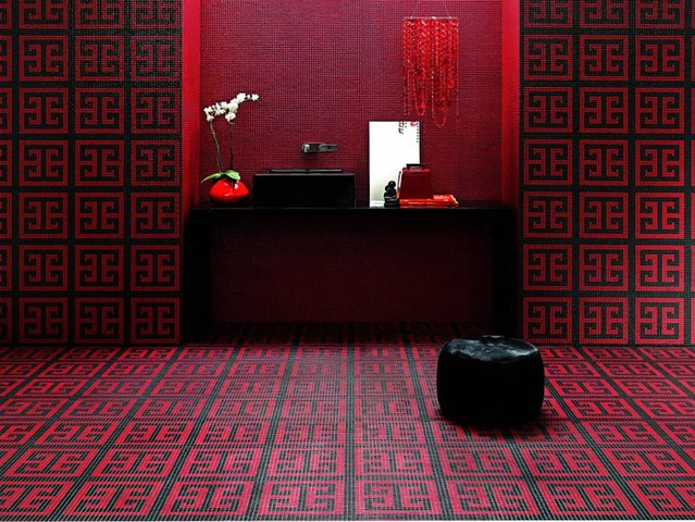 Red and black mosaic bathroom floor the exotic feel of for Bathroom designs red and black