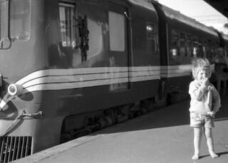 Dairn and railcar, Palmerston North, Manawatu, New Zealand, 1973