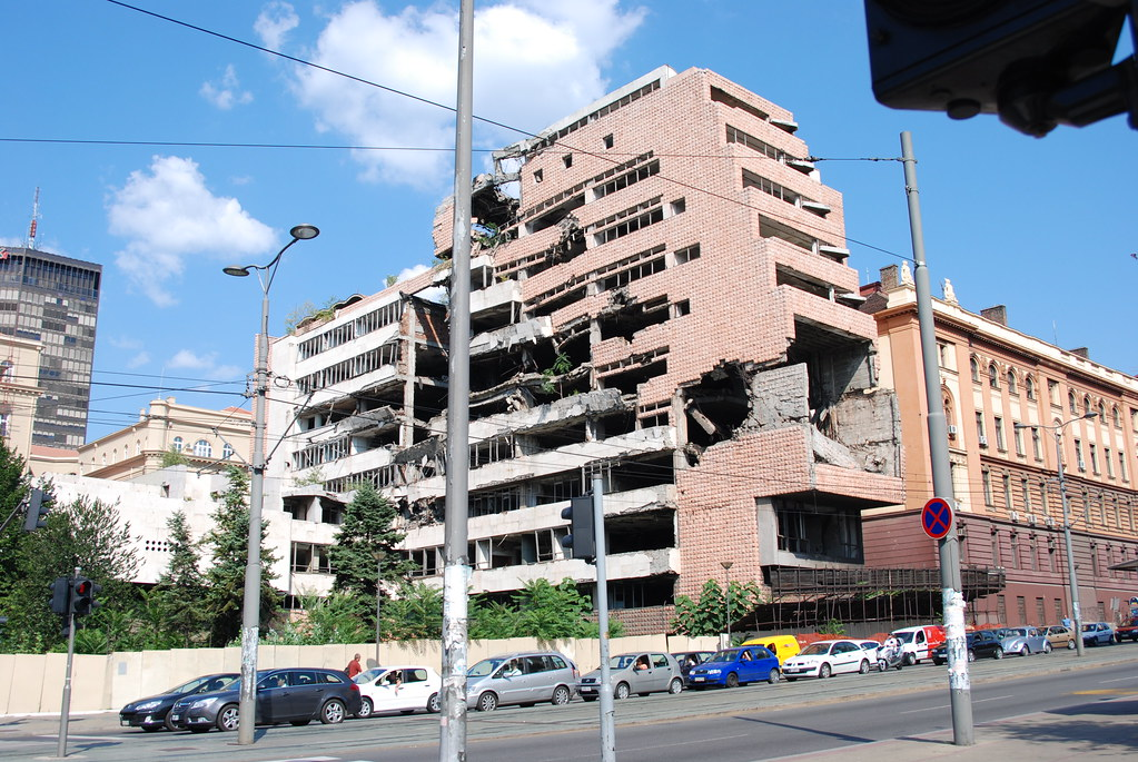 Yugoslavian Army General Headquarters building damaged during NATO bombing