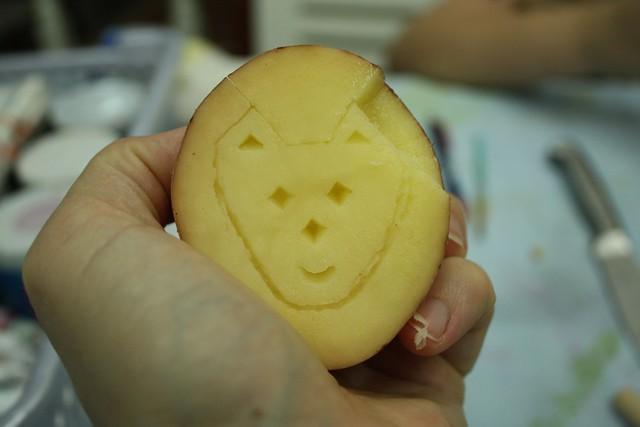 cat potato stamp