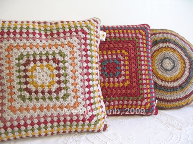 Eleanor, Delilah and Doreen crochet cushions by Emma Lamb