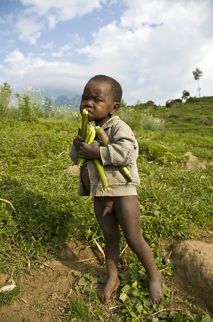 RWANDA - Sugar Cane Treat for a Very Poor Boy