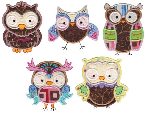 Owl set at Bunnycup Embroidery