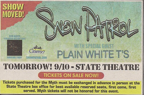 09/10/09 Snow Patrol/Plain White T's @ Minneapolis, MN (MOVED) (Ad)