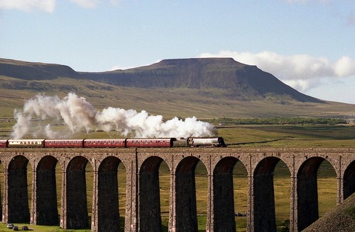 """City of Wells"" 34092 crossing Ribblehead Viaduct"