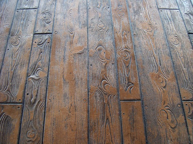 Wood Pattern Stamped Concrete Pattern : Wood plank pattern close up of the