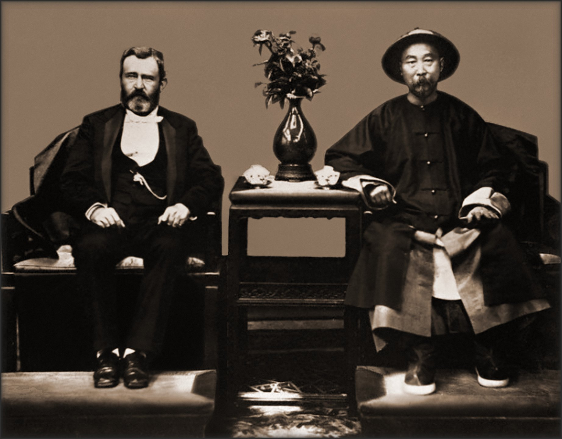 Ulysses S. Grant & Li Hung Chang, Tientsin, China [1879] Attribution Unk [RESTORED]