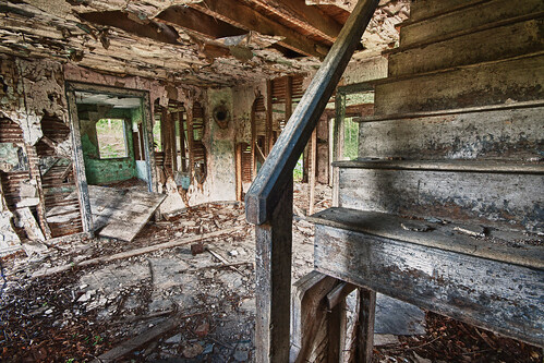 morning house abandoned broken stairs sunrise dawn peeling shadows decay creepy spooky hdr dessicate