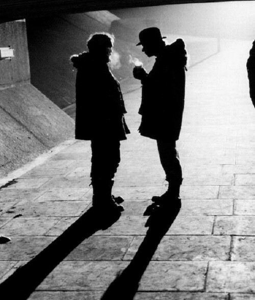 Stanley Kubrick & Malcolm McDowell on the set of A Clockwork Orange