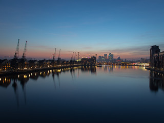 Royal Docks at blue hour