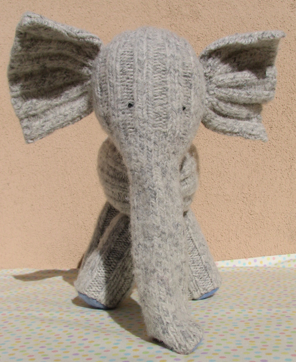 Sock Elephant made from vintage socks