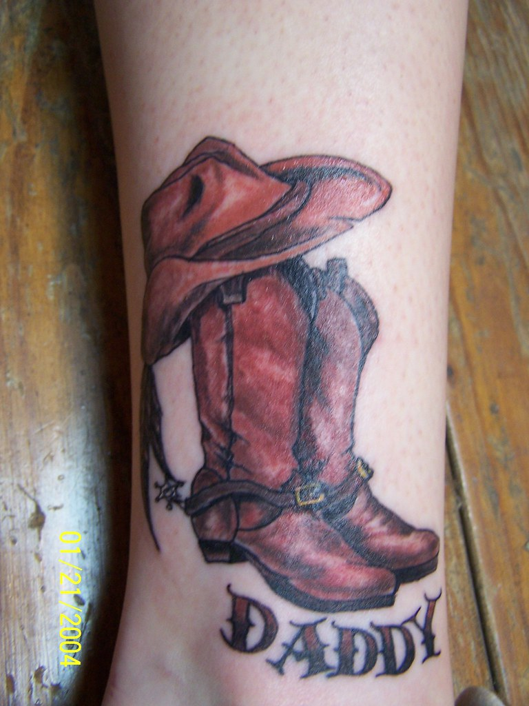 Tattoo by mad mike porter a photo on flickriver for Cowboy boot tattoo