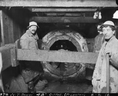 Workers at Fort Lawton sewer outfall, 1912