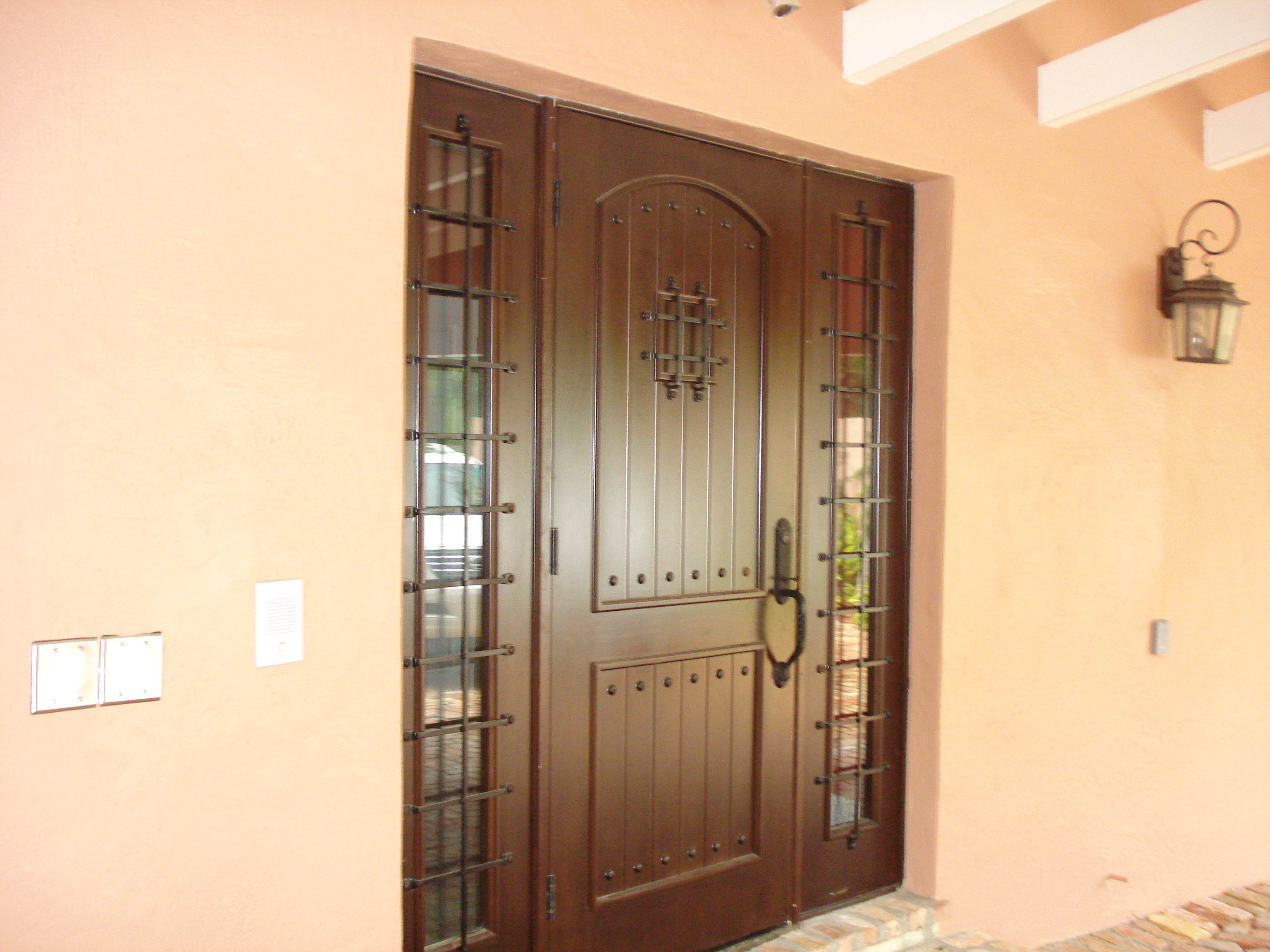 2304 #C26C09 Mahogany Front Doors Wrought Iron Speak Easy Grill With Sidelights  pic Metal Entry Doors With Sidelights 39213072