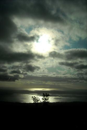 ocean trees sunset shadow sea sky sun reflection tree water clouds dark hawaii quiet dusk maui calm brush
