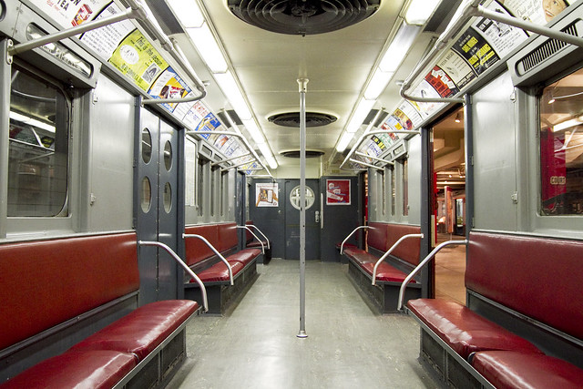 subway car interior new york transit museum red and gray by roboppy flickr photo sharing. Black Bedroom Furniture Sets. Home Design Ideas