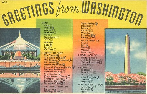 Greetings from Washington postcard with a  list of things people are doing