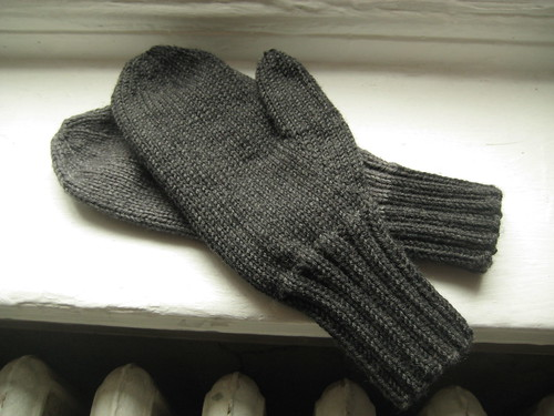 Mismatched Charcoal Mittens Finished