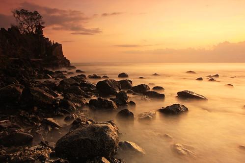 old longexposure sunset orange seascape beach rock indonesia landscape temple gold stock hinduism lombok mystic potofgold ntb senggigi batubolong
