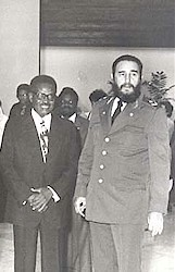Former Angolan president and secretary-general of the MPLA-Workers Party, Agostino Neto, with former Cuban President Fidel Castro. by Pan-African News Wire File Photos