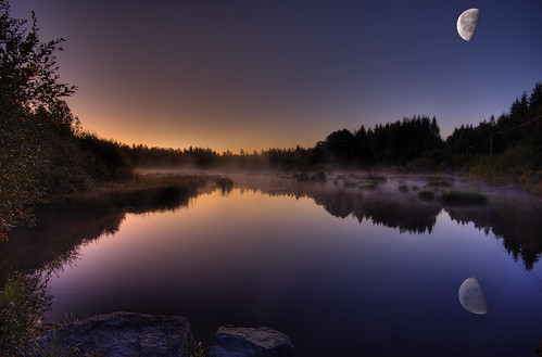 moon water sunrise espoo finland dawn pond swamp hdr keskuspuisto abigfave vanagram artofimages zensationalworld bestcapturesaoi bestofmywinners blinksuperstars