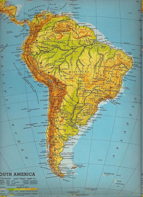 South AMERICA Continent Over Sized Physical Color