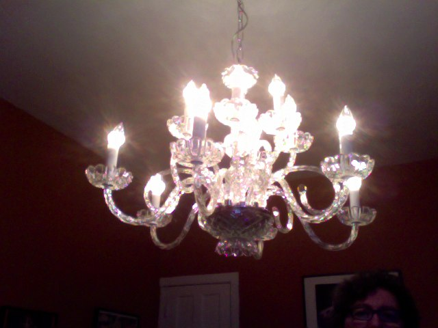 Light #2 is up! The chandelier!