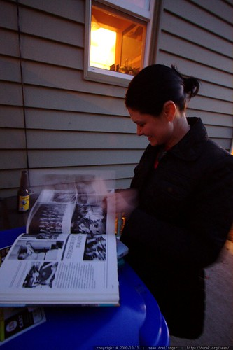 rachel moved her yearbook reminiscing outside where there was more light    MG 6108