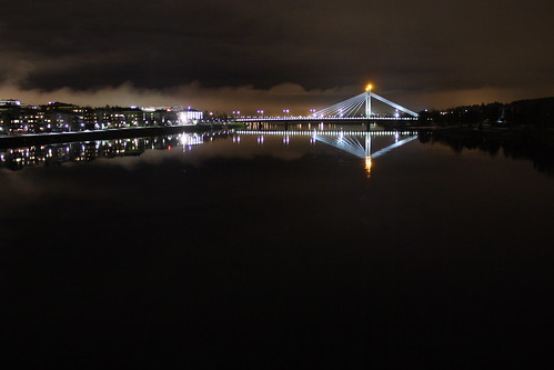 city bridge sky panorama oneaday night clouds finland river landscape lights rovaniemi lapland photoaday finlandia pictureaday laponia project365 sooc project36519 candlebridge project365261009