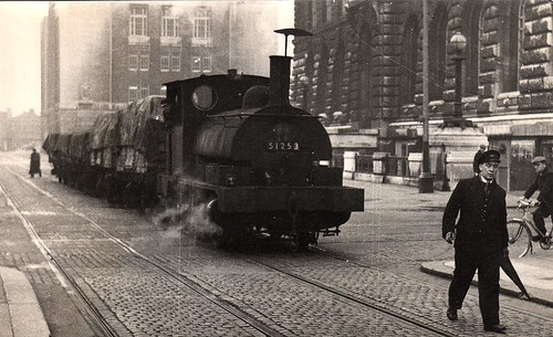"""Mind how you go!"" Liverpool dock railway engine c 1960s"