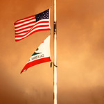 United States Flag and California Flag