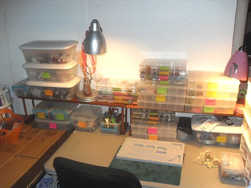 "My ""studio/crafting"" area beads and such"