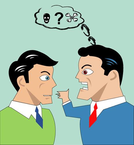 Argument Between a Little Man and a Big Man