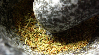 cumin & fennel seeds in mortar & pestle by gorgeoux, on Flickr