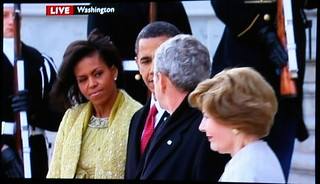 Obamas and Bushes - US Presidential Inauguration - Screencap