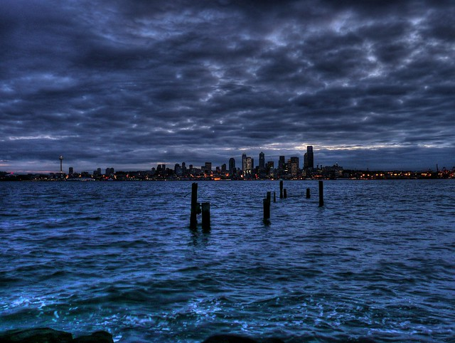 Puget Sound and Seattle from Alki Beach