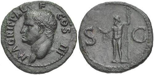 Agrippa. Died AD 12. Æ As (29mm,.