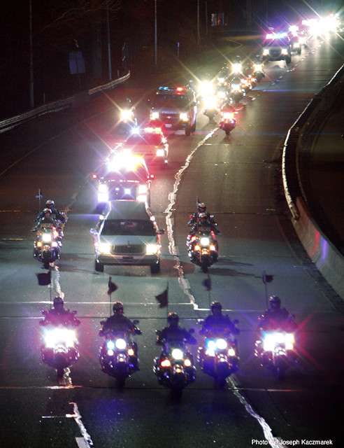 Highway Patrol escort by AP Photographer Joe Kaczmarek | Flickr