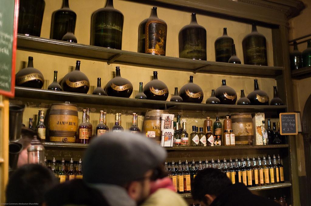 Shelves of liqueur