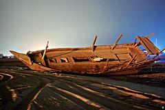 sailboat(0.0), sailing ship(0.0), ship(0.0), sea(0.0), watercraft rowing(0.0), mast(0.0), barque(0.0), viking ships(0.0), wood(1.0), vehicle(1.0), watercraft(1.0), shipwreck(1.0), boat(1.0),