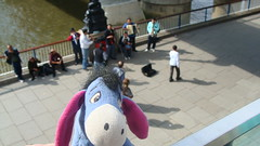 Eeyore warms his cool heart with a hot desert tune. South Bank near Golden Jubilee Bridge (Hungerford Bridge), London