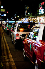 taxi, automobile, traffic, vehicle, road, lane, traffic congestion, night, street,