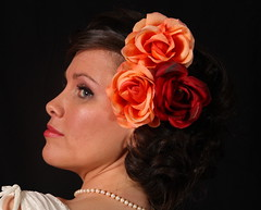 bride, orange, hairstyle, flower, clothing, red, head, jewellery, hair, woman, ear, headpiece, petal,