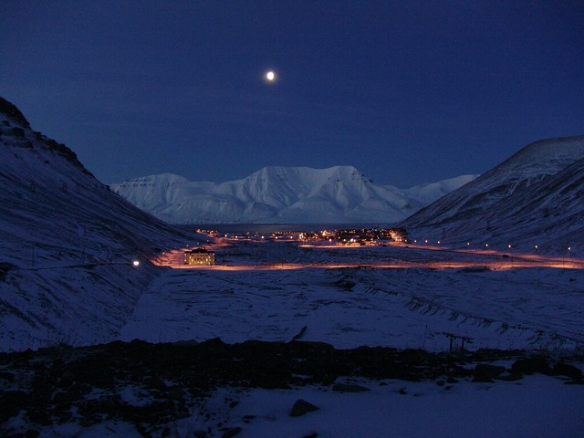 Longyearbyen lights at night