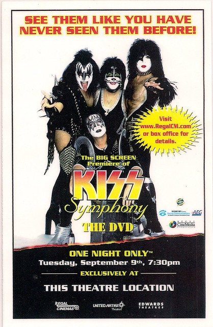 09/09/03 Kiss Symphony Alive IV DVD Theatrical Screening @ Brooklyn Center, MN (Laminated Theatre Card - Front)