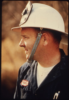 """Closeup of Volunteer Fire Department Lieutenant Wallace """"Whitey"""" Wolf at a Large Brush Fire ..., 10/1974"""