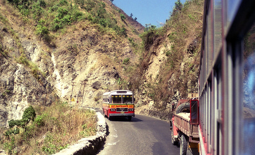 Pantranco M.A.N 1117 and a truck on a section of the Kennon Road towards Baguio, Philippines.