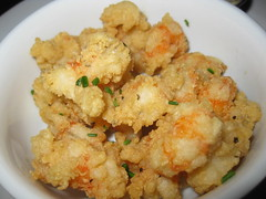 vegetable(0.0), panko(0.0), cruciferous vegetables(0.0), produce(0.0), cauliflower(0.0), fried food(1.0), fried prawn(1.0), seafood(1.0), food(1.0), dish(1.0), cuisine(1.0),